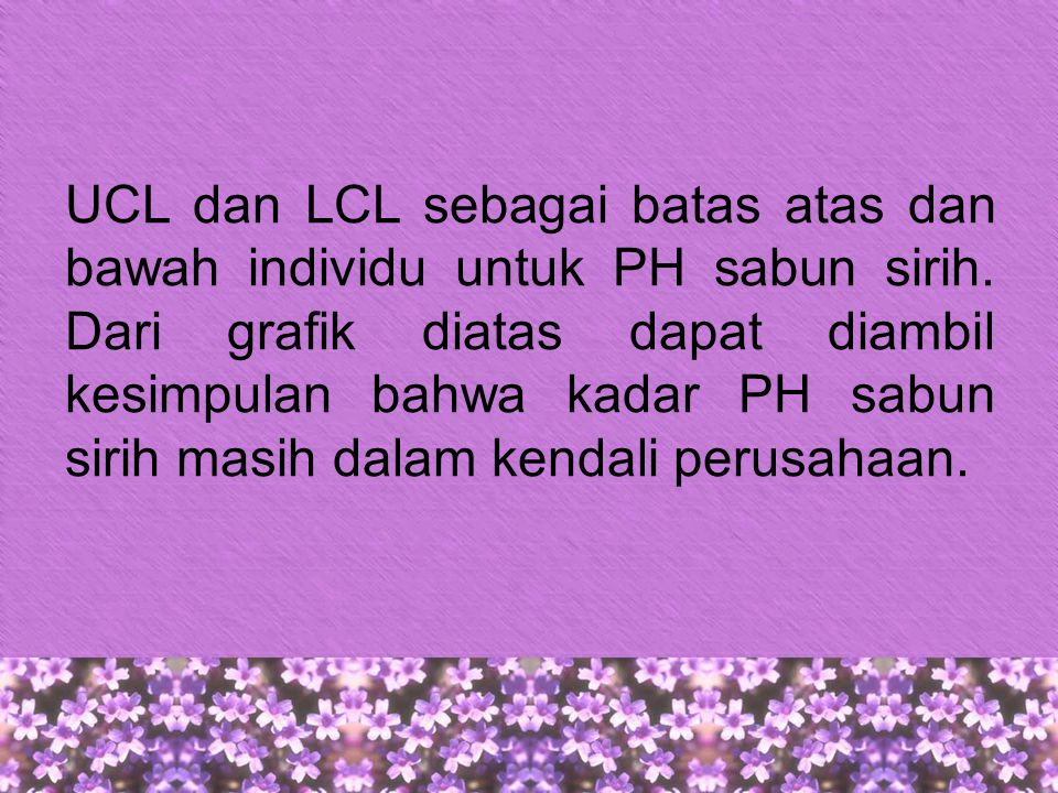UCL dan LCL sebagai batas atas dan bawah individu untuk PH sabun sirih