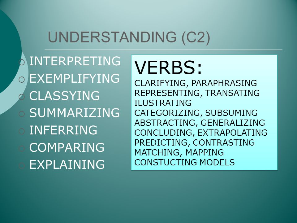 VERBS: UNDERSTANDING (C2) INTERPRETING EXEMPLIFYING CLASSYING