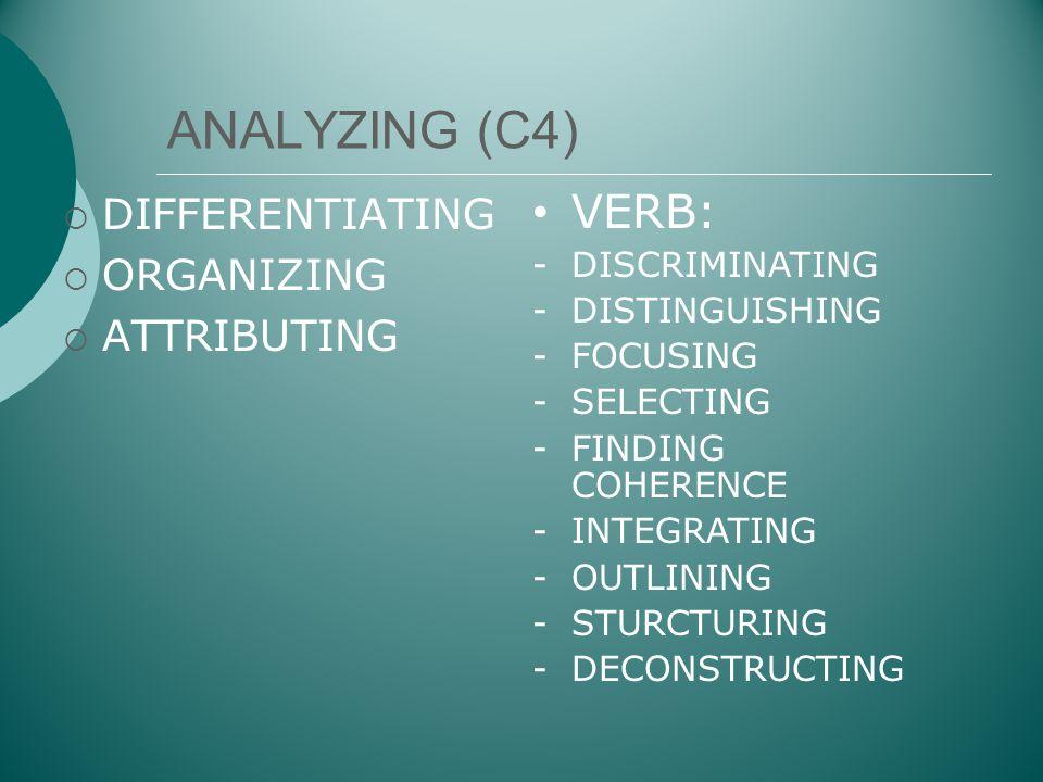 ANALYZING (C4) VERB: DIFFERENTIATING ORGANIZING ATTRIBUTING
