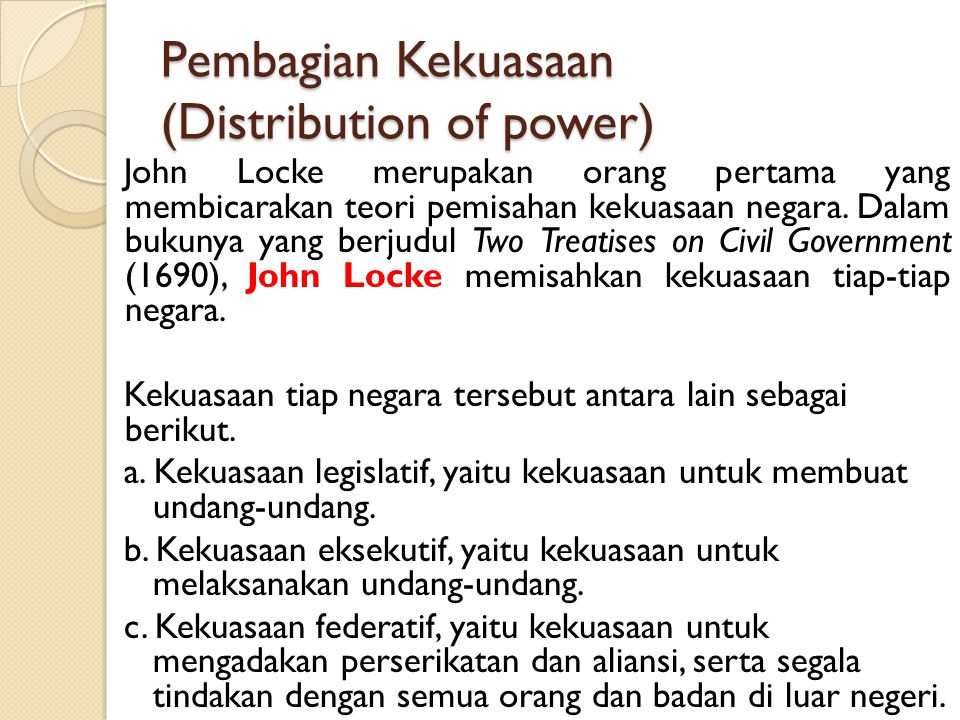 Pembagian Kekuasaan (Distribution of power)
