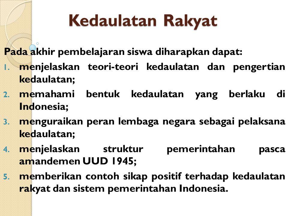 Kedaulatan Rakyat Pada akhir pembelajaran siswa diharapkan dapat: