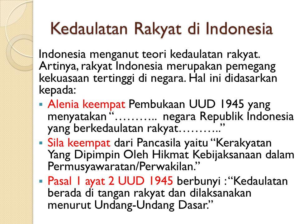 Kedaulatan Rakyat di Indonesia