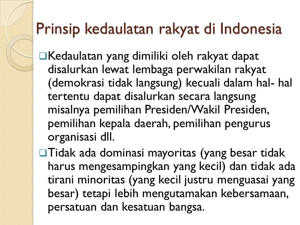 Prinsip kedaulatan rakyat di Indonesia