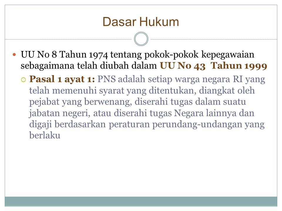 Dasar Hukum UU No 8 Tahun 1974 tentang pokok-pokok kepegawaian sebagaimana telah diubah dalam UU No 43 Tahun 1999.