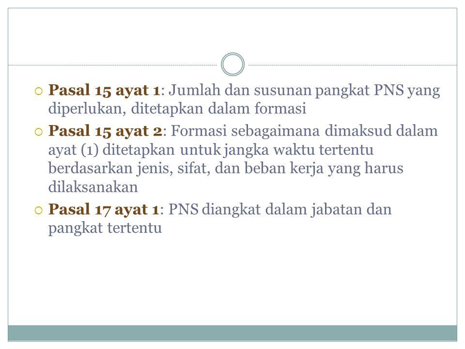 Pasal 15 ayat 1: Jumlah dan susunan pangkat PNS yang diperlukan, ditetapkan dalam formasi