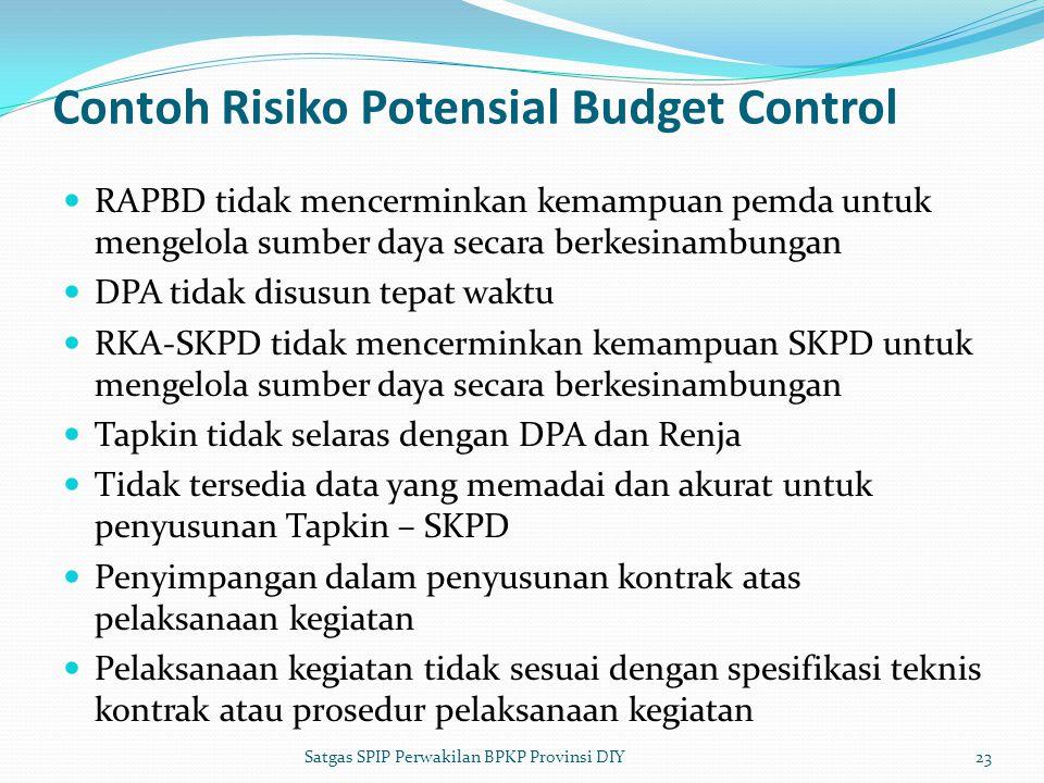 Contoh Risiko Potensial Budget Control