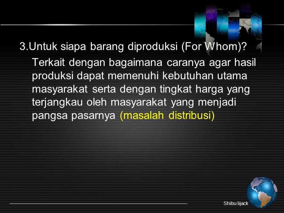 3.Untuk siapa barang diproduksi (For Whom)