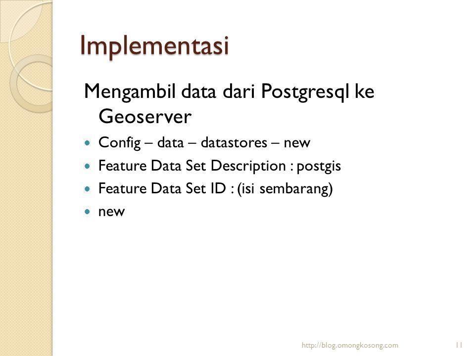 Implementasi Mengambil data dari Postgresql ke Geoserver