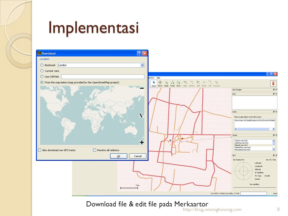 Implementasi Download file & edit file pada Merkaartor