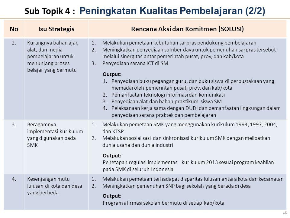 Sub Topik 4 : Peningkatan Kualitas Pembelajaran (2/2)