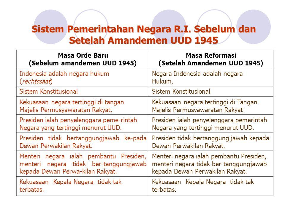 Sistem Pemerintahan Negara R.I. Sebelum dan Setelah Amandemen UUD 1945