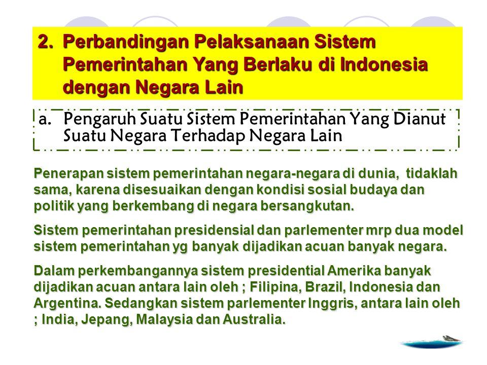 Perbandingan Pelaksanaan Sistem Pemerintahan Yang Berlaku di Indonesia dengan Negara Lain