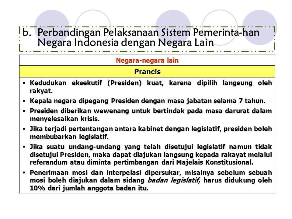 Perbandingan Pelaksanaan Sistem Pemerinta-han Negara Indonesia dengan Negara Lain