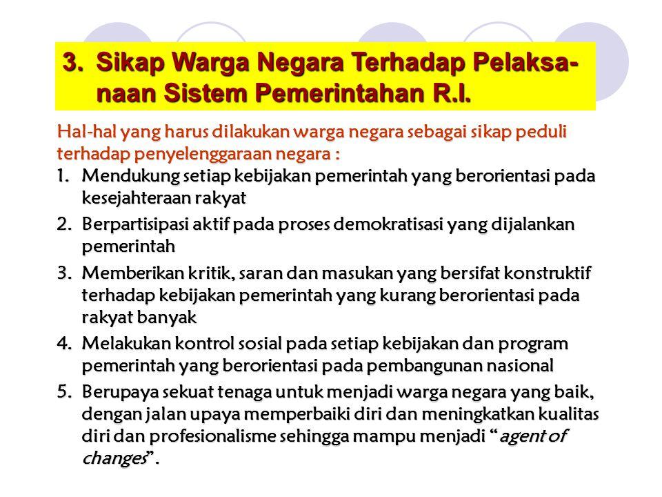 Sikap Warga Negara Terhadap Pelaksa-naan Sistem Pemerintahan R.I.
