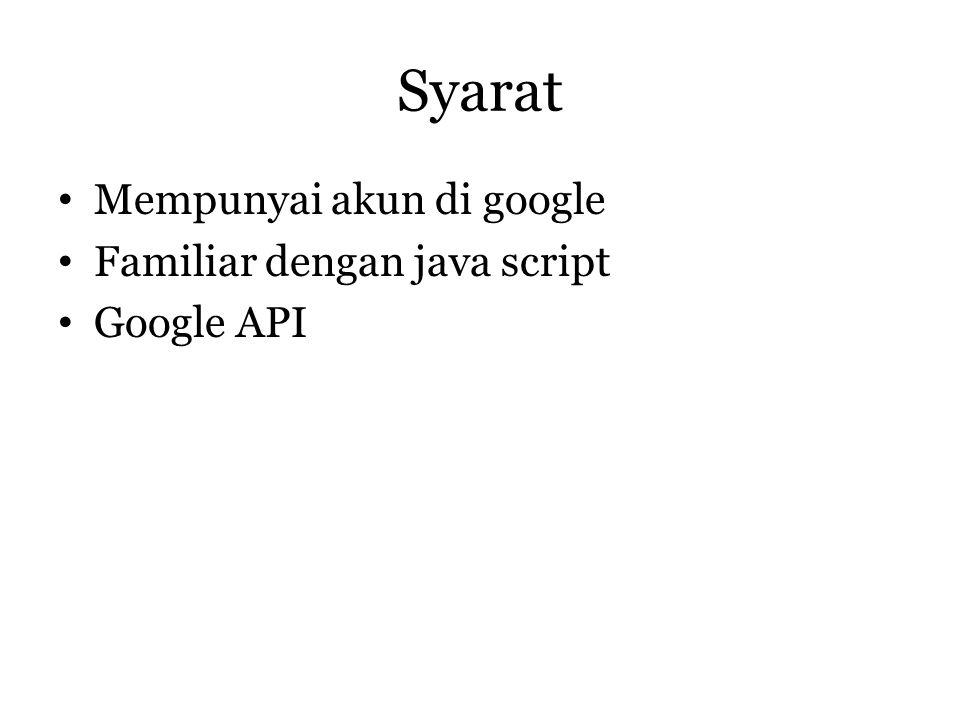 Syarat Mempunyai akun di google Familiar dengan java script Google API