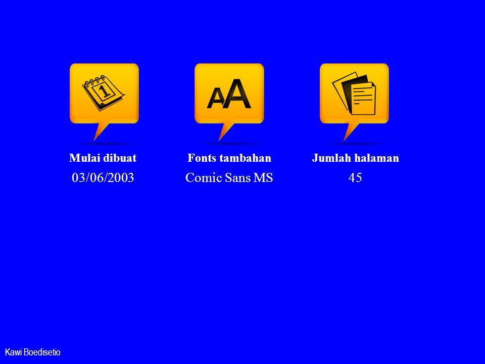 03/06/2003 Comic Sans MS 45 Mulai dibuat Fonts tambahan Jumlah halaman