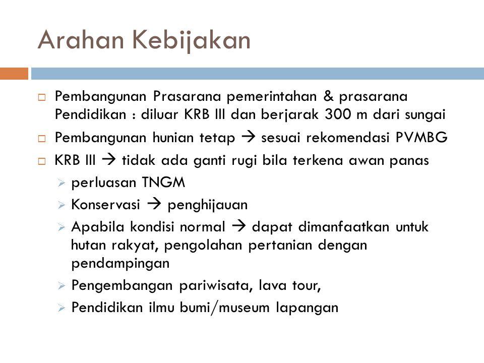 Arahan Kebijakan Pembangunan Prasarana pemerintahan & prasarana Pendidikan : diluar KRB III dan berjarak 300 m dari sungai.