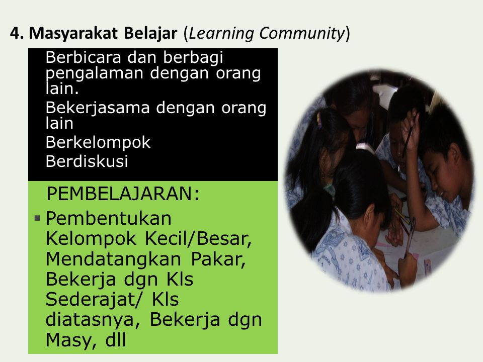 4. Masyarakat Belajar (Learning Community)