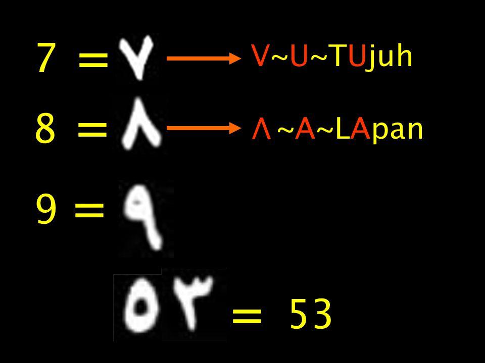 = 7 V~U~TUjuh = 8 V ~A~LApan = 9 = 53