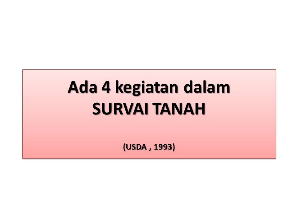 Ada 4 kegiatan dalam SURVAI TANAH (USDA , 1993)