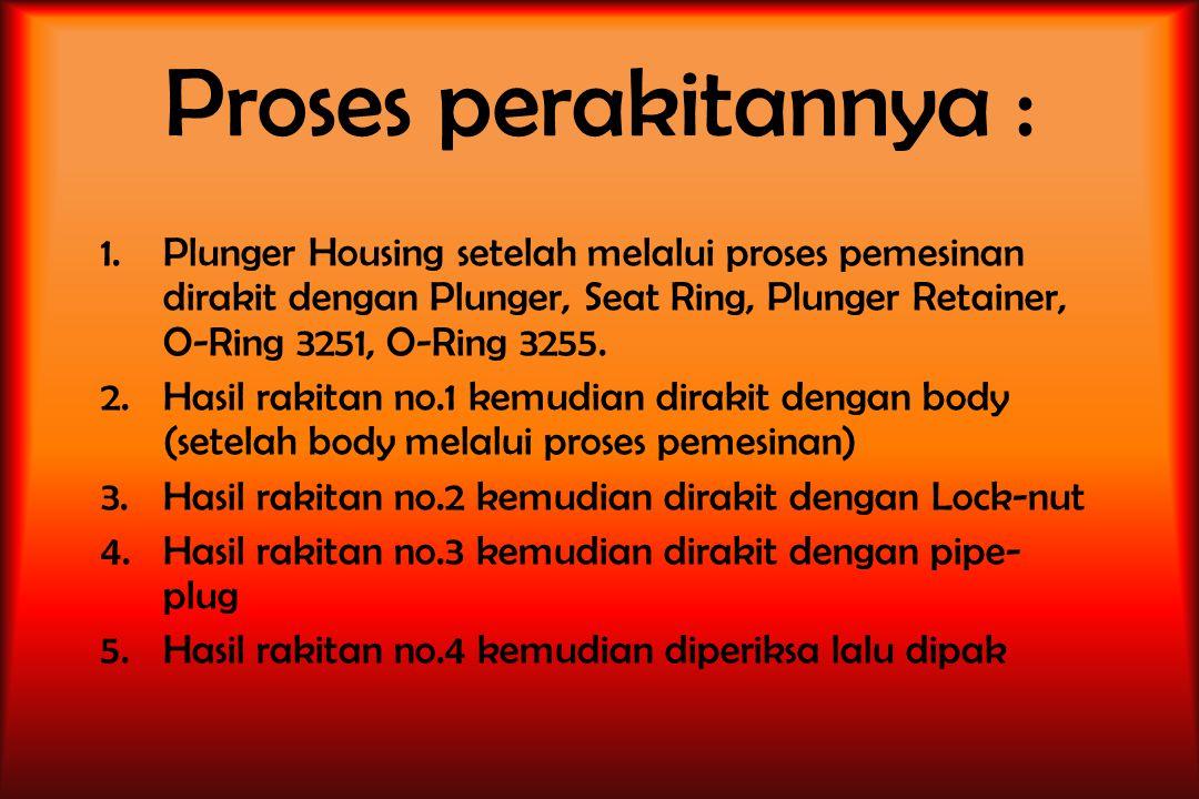 Proses perakitannya : Plunger Housing setelah melalui proses pemesinan dirakit dengan Plunger, Seat Ring, Plunger Retainer, O-Ring 3251, O-Ring 3255.