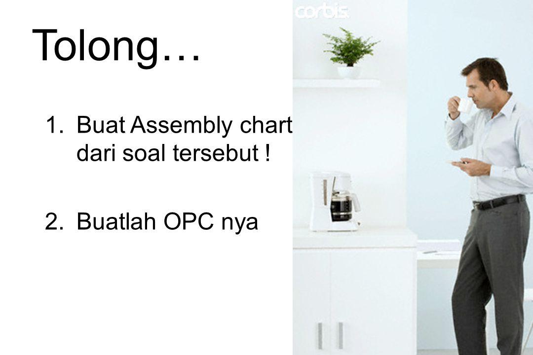 Tolong… Buat Assembly chart dari soal tersebut ! Buatlah OPC nya