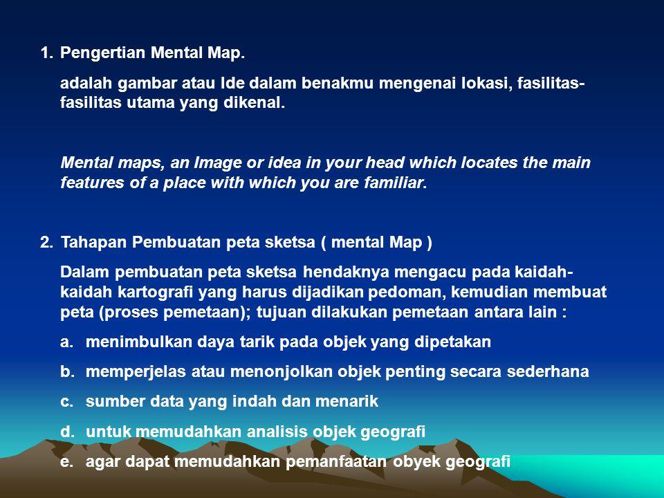 1. Pengertian Mental Map. adalah gambar atau Ide dalam benakmu mengenai lokasi, fasilitas-fasilitas utama yang dikenal.