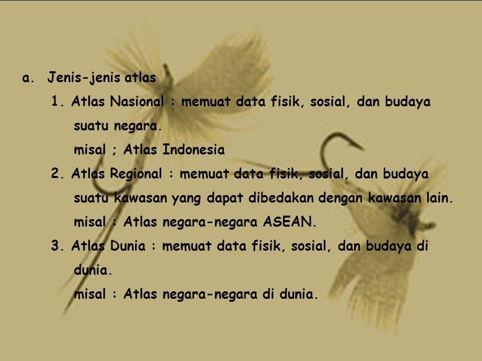 a. Jenis-jenis atlas 1. Atlas Nasional : memuat data fisik, sosial, dan budaya. suatu negara. misal ; Atlas Indonesia.