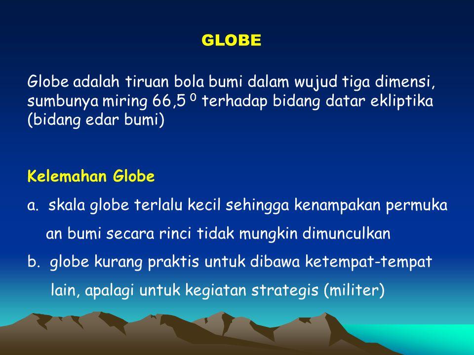 GLOBE Globe adalah tiruan bola bumi dalam wujud tiga dimensi, sumbunya miring 66,5 0 terhadap bidang datar ekliptika (bidang edar bumi)