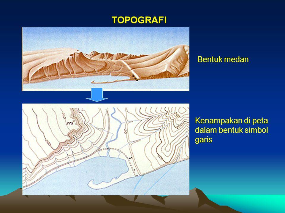 TOPOGRAFI Bentuk medan Kenampakan di peta dalam bentuk simbol garis