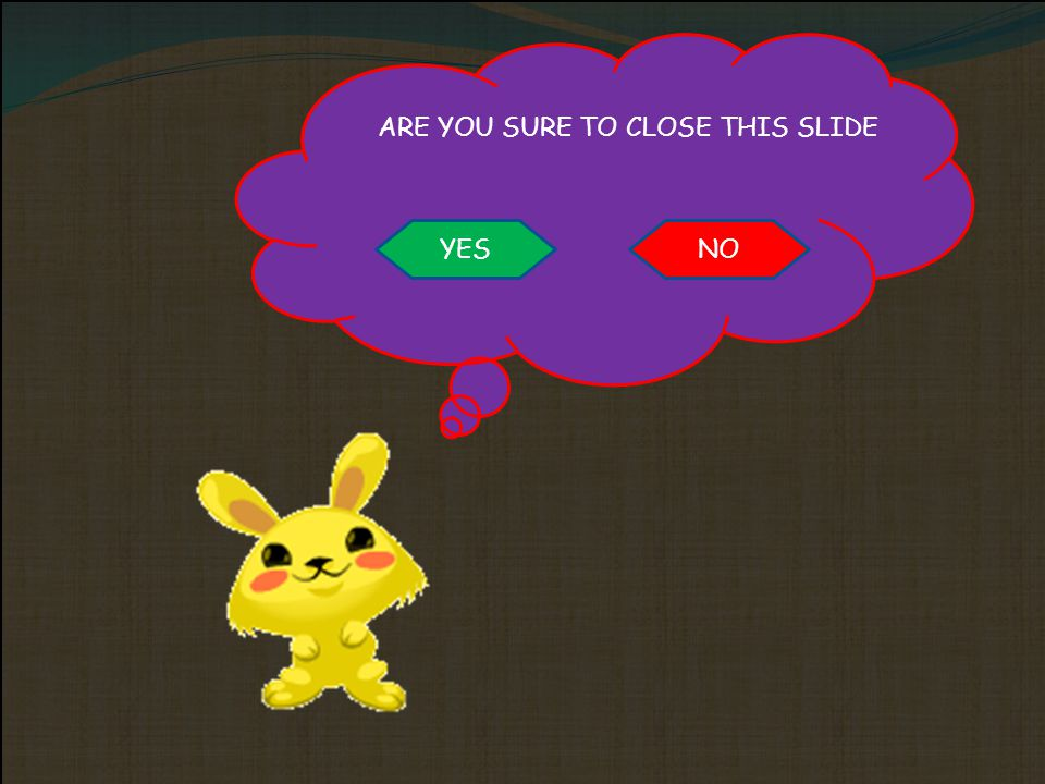 YES NO ARE YOU SURE TO CLOSE THIS SLIDE