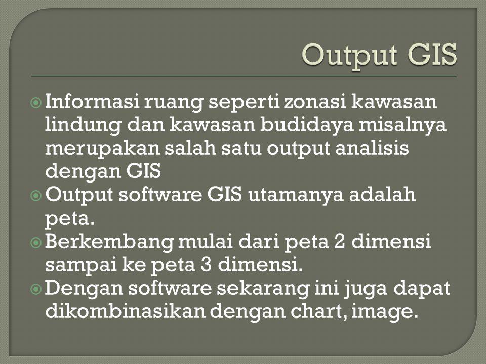 Output GIS Informasi ruang seperti zonasi kawasan lindung dan kawasan budidaya misalnya merupakan salah satu output analisis dengan GIS.