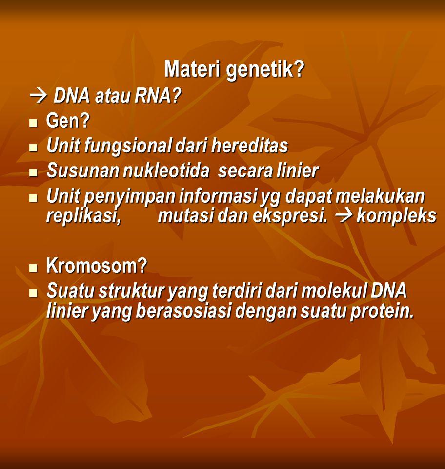Materi genetik  DNA atau RNA Gen Unit fungsional dari hereditas