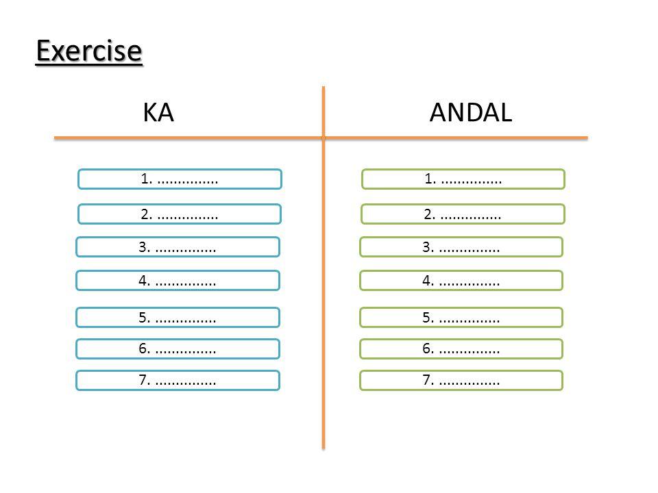 Exercise KA. ANDAL. 1. ............... 1. ............... 2. ............... 2. ...............