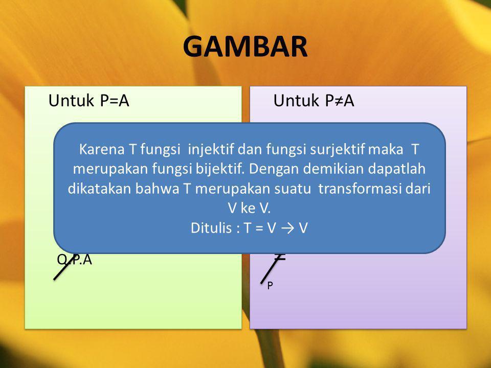 GAMBAR = = Untuk P=A Untuk P≠A