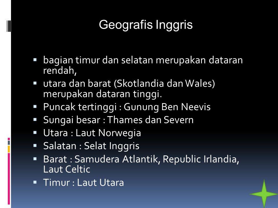 Geografis Inggris bagian timur dan selatan merupakan dataran rendah,
