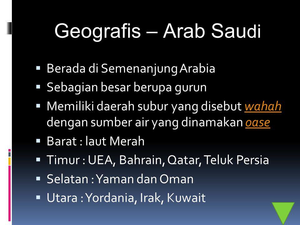 Geografis – Arab Saudi Berada di Semenanjung Arabia