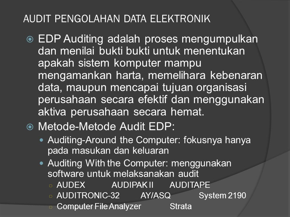 AUDIT PENGOLAHAN DATA ELEKTRONIK