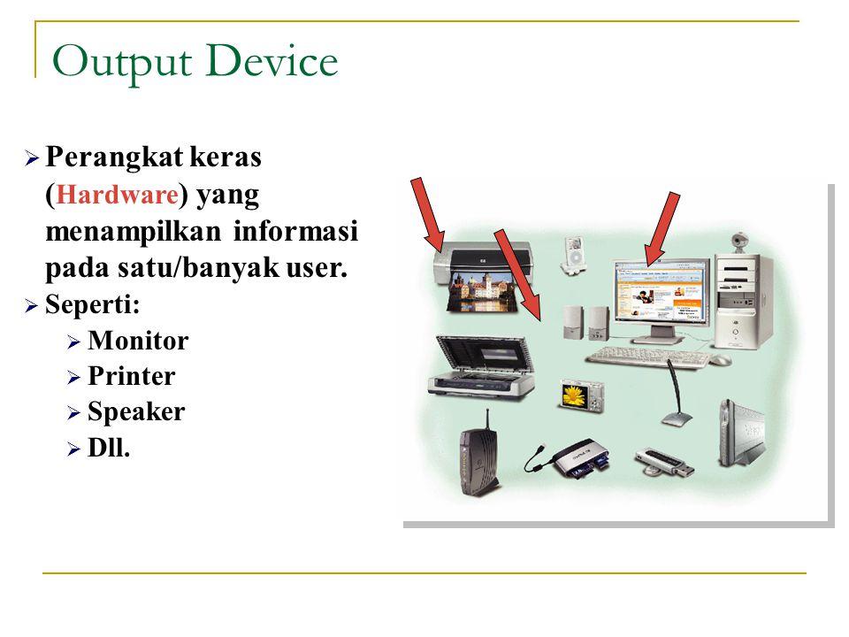 Output Device Perangkat keras (Hardware) yang menampilkan informasi pada satu/banyak user. Seperti: