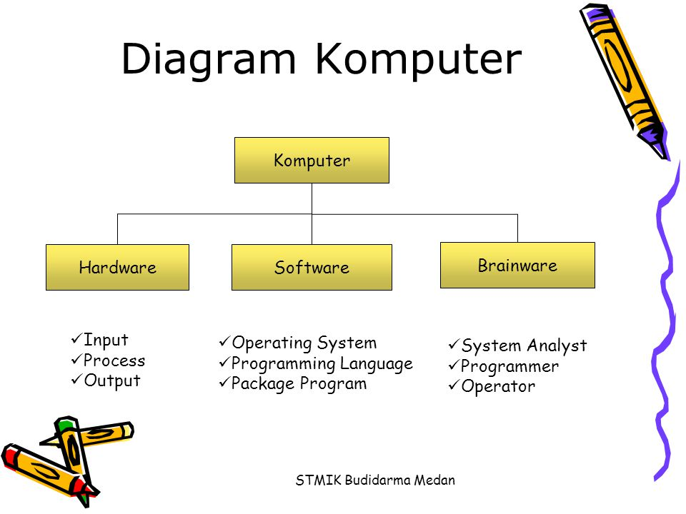Diagram Komputer Komputer Hardware Software Brainware Input Process