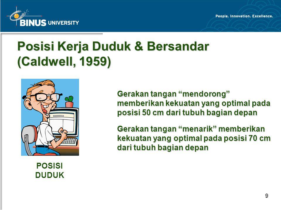 Posisi Kerja Duduk & Bersandar (Caldwell, 1959)
