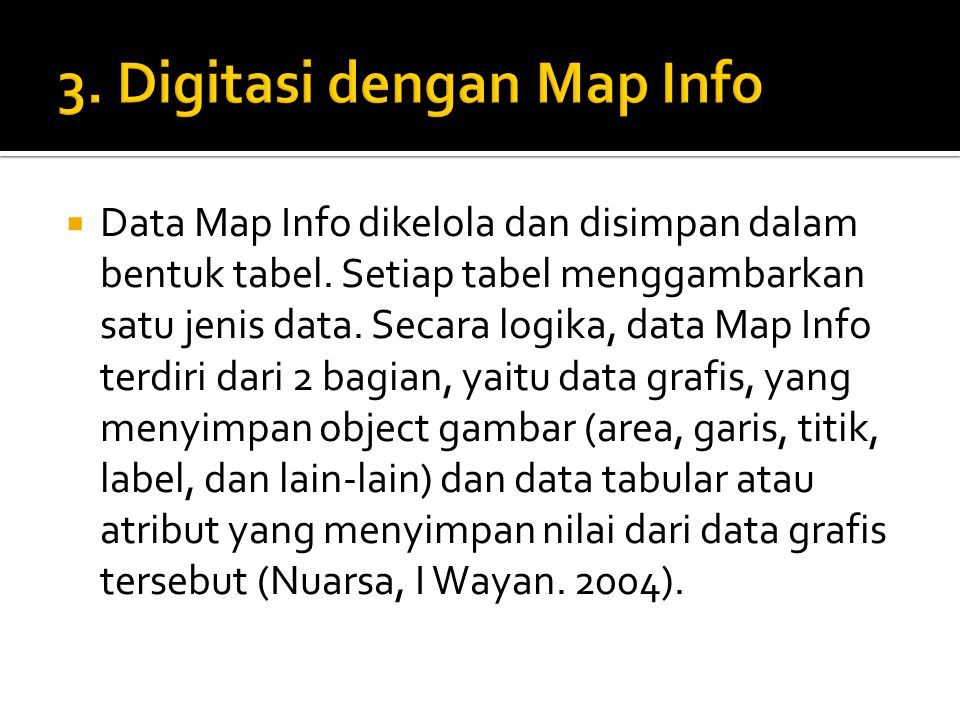 3. Digitasi dengan Map Info