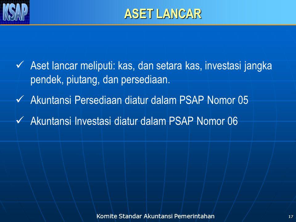 ASET LANCAR Aset lancar meliputi: kas, dan setara kas, investasi jangka pendek, piutang, dan persediaan.