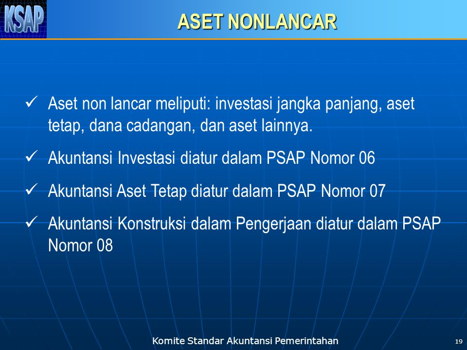 ASET NONLANCAR Aset non lancar meliputi: investasi jangka panjang, aset tetap, dana cadangan, dan aset lainnya.