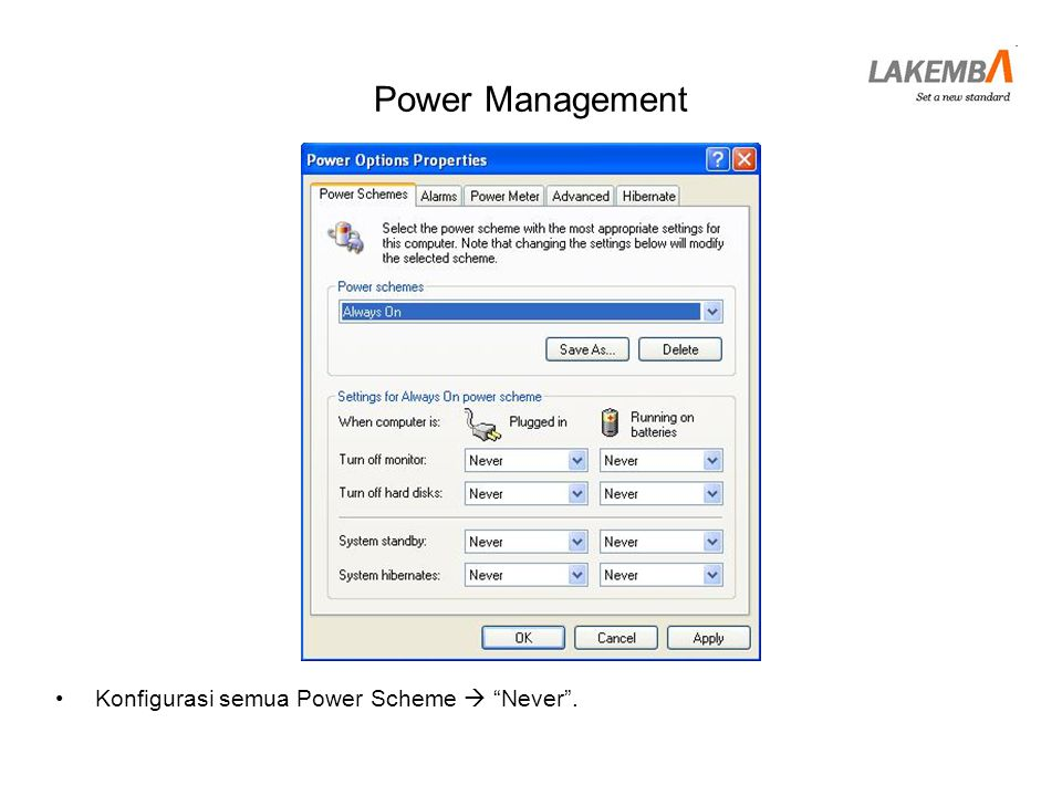 Power Management Konfigurasi semua Power Scheme  Never .
