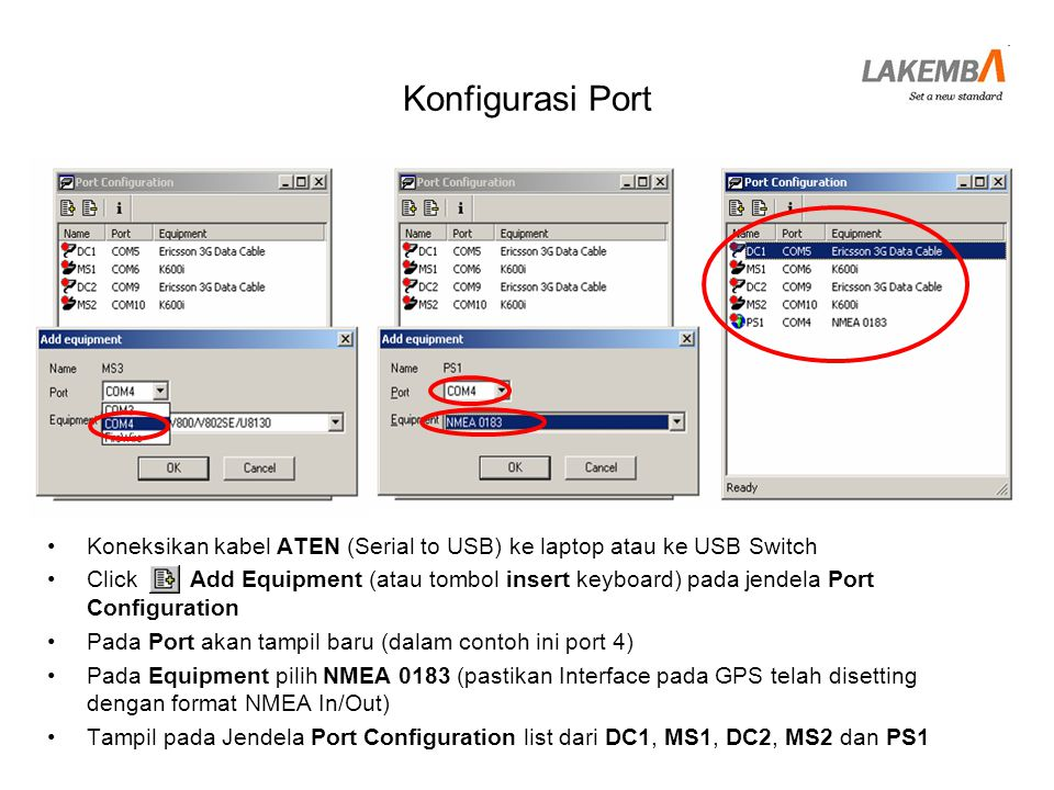 Konfigurasi Port Koneksikan kabel ATEN (Serial to USB) ke laptop atau ke USB Switch.