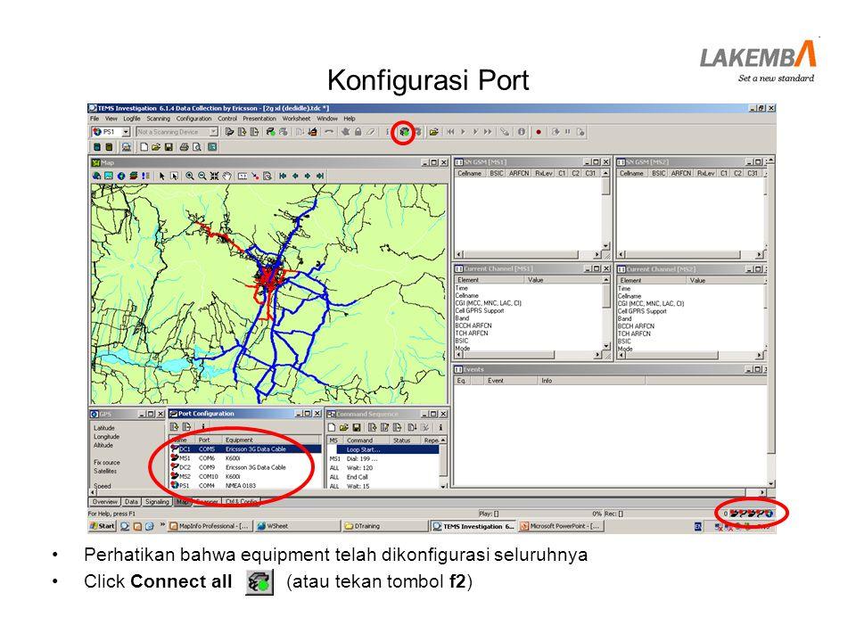 Konfigurasi Port Perhatikan bahwa equipment telah dikonfigurasi seluruhnya.