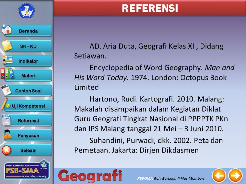REFERENSI AD. Aria Duta, Geografi Kelas XI , Didang Setiawan.