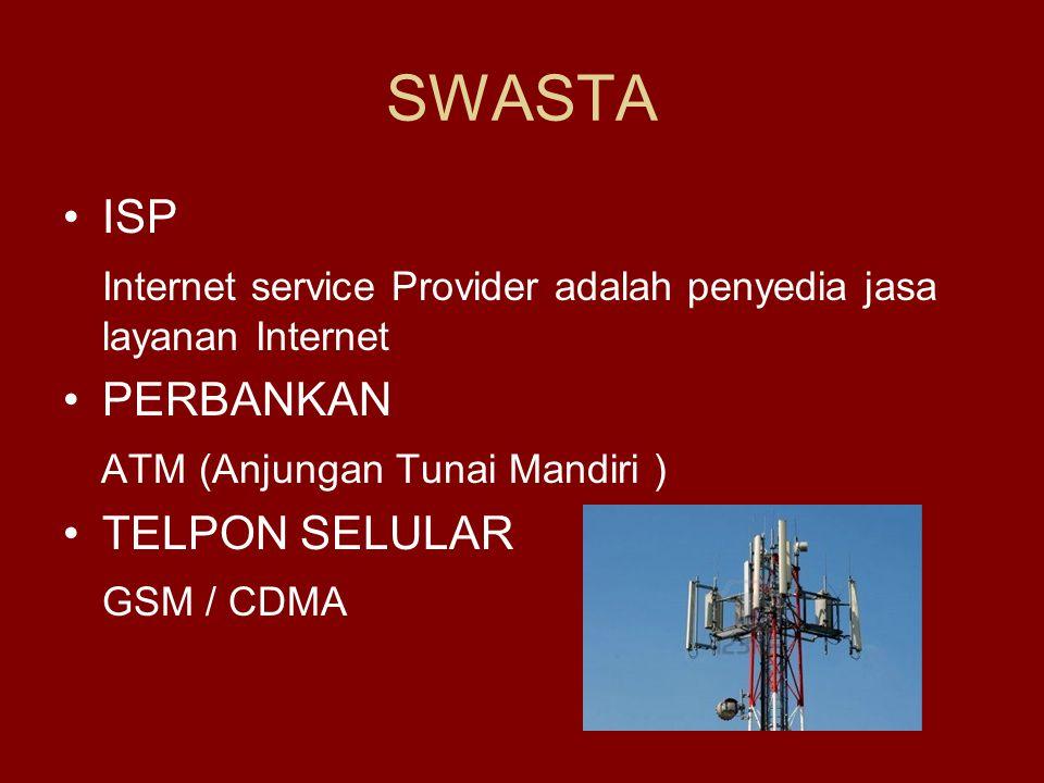 SWASTA ISP. Internet service Provider adalah penyedia jasa layanan Internet. PERBANKAN. ATM (Anjungan Tunai Mandiri )