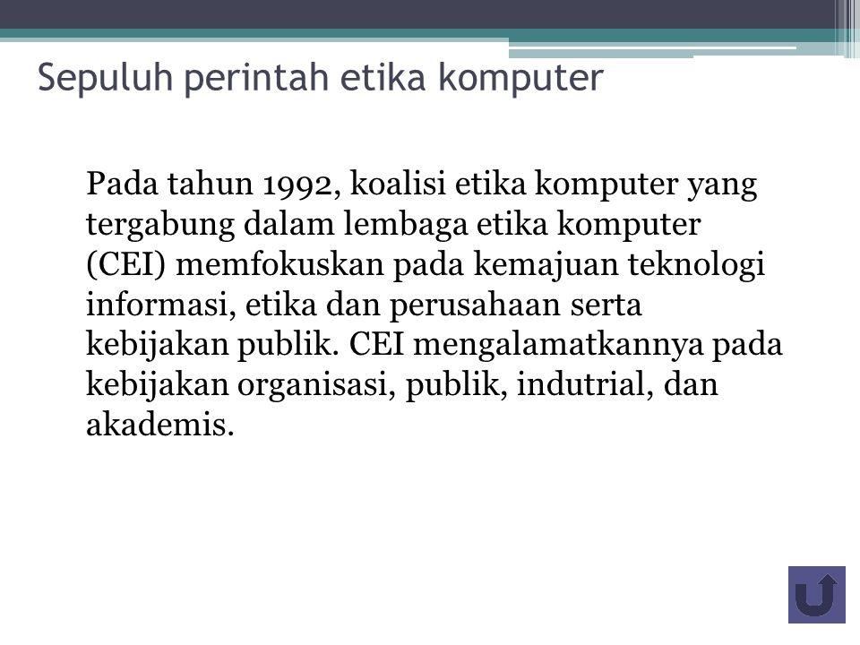 Sepuluh perintah etika komputer
